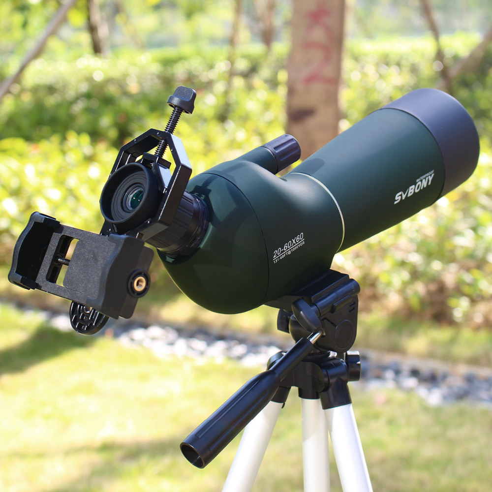 все цены на 20-60x60 Spotting Scope Zoom Monocular Birdwatch & Universal Phone Adapter Mount Waterproof SVBONY Telescope Original F9308 онлайн