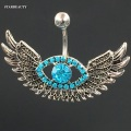 Original 14G Angel Wing Navel Piercing Ombligo Gauge, Sexy Blue Crystal Eye Belly Button Rings Body Piercing Nombril Pircing