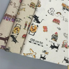 Lovely Cat Printed Cotton Linen Fabric Patchwork Sewing Linen Cotton Canvas Material DIY Quilting Handmade Crafts Home Textile hedgehog printed patchwork cotton linen fabric diy sewing linen cotton fabric quiting woven home textile material handmade craft
