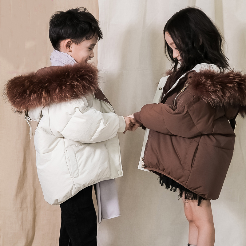 1-12 Years Large Real Fur Collar Kids Winter Coat White Duck Down Boys Girls Down Parkas Snow Wear Thick Warm Children Snowsuit winter children 80% white duck down jacket boys girls warm real fur collar hooded snow coat parka kids thick outerwear coat e249