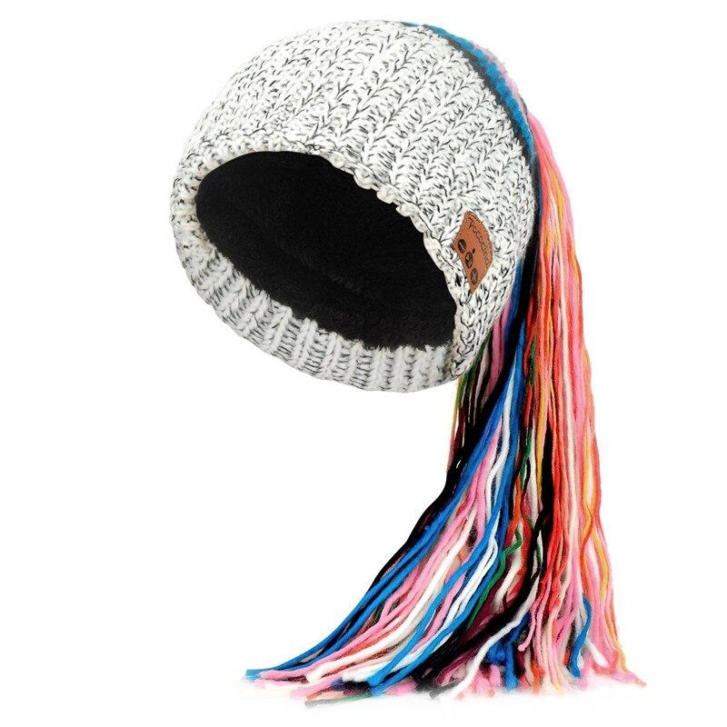 Bluetooth Beanie шляпа с перезаряжаемой унисекс беспроводной Beanies панель управления съемные стерео наушники шерсть вязать музыкальное бини - Цвет: Grey with tassel