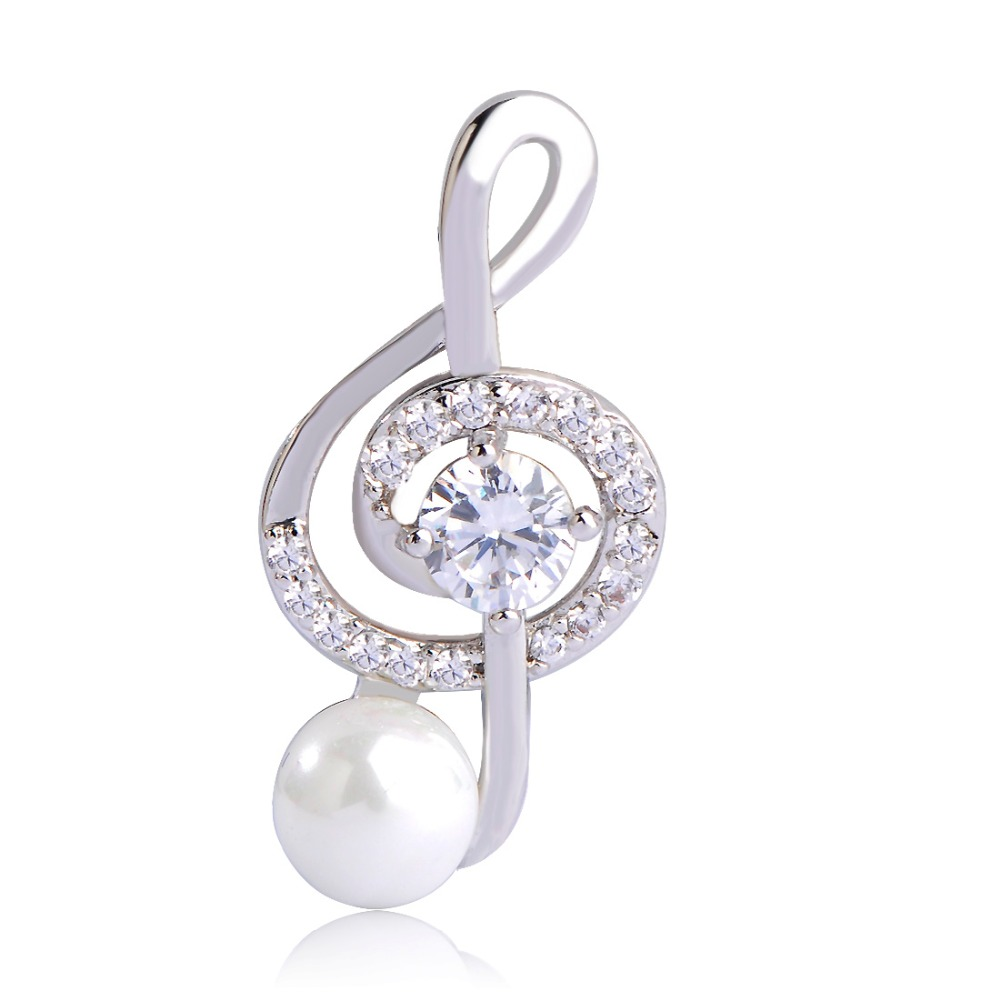 Blucome CZ Zircon Music Note Brooches Simple Style Simulated Pearl Small Brooch Hijab Pins Collar Clip