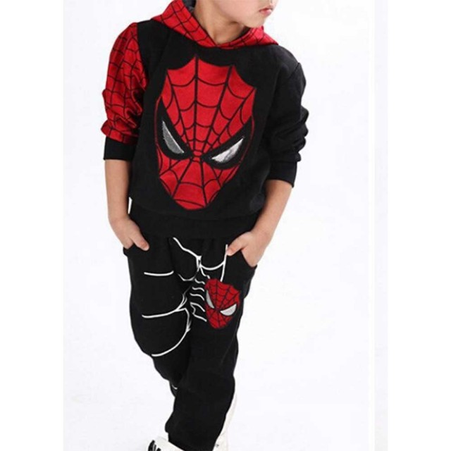 2016 Cotton Children Baby Spider Man Suit spider - man Kostum 2pc  Sweater Suit Kids Boys Long Sleeved Casual Clothes
