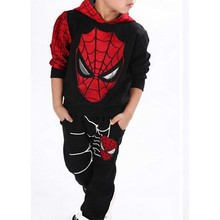 2016 Cotton Children Baby Spider Man Suit spider - man Kostum 2pc Sets Sweater Suit Kids Boys Long Sleeved Casual Clothes