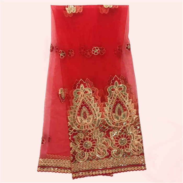 New arrival red with gold embroidery French tulle fabric with sequins African net lace cloth for