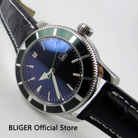 BLIGER 46MM Black Sterile Dial Green Small Second Hand Wrist Watches Rotating Bezel MIYOTA Automatic Movement Men's Watch BI23