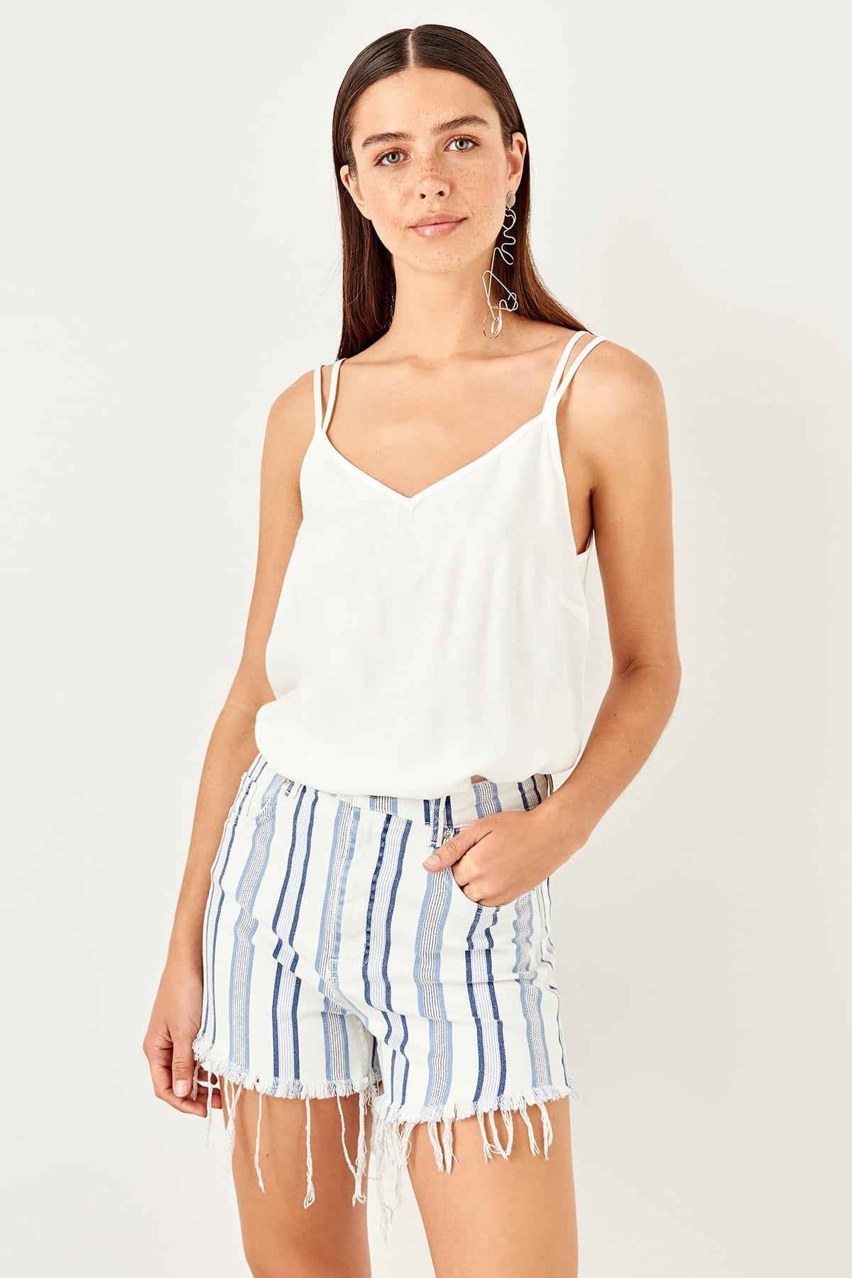 Trendyol Blue Stripe Denim Shorts TWOSS19RY0026