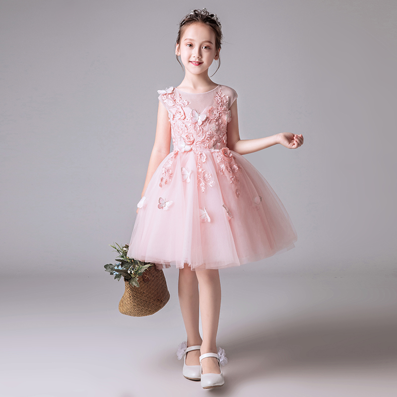 Beaded Floral Flower Girl Wedding Dress Pink Tulle Party