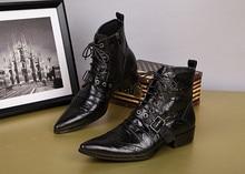 Black Fashion Men Ankle Boots Pointed Toe Botas Hombre Lace Up Botas Militares Wedding Dress Shoes Mens Cowboy Boots недорого