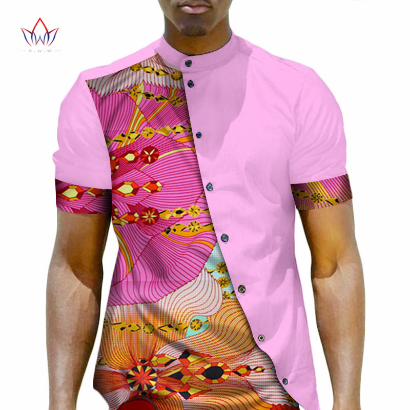 Men African Clothing Dashiki Men Top Shirt Bazin Riche African Men Clothes  100% Cotton Print fd5b9116d456