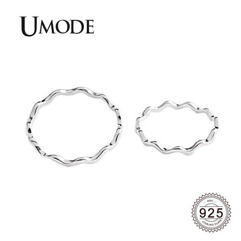 Umode Bocht Wave 925 Sterling Zilveren Ringen Sets Party Fijne Sieraden Voor Vrouwen Simple Mode Koreaanse Ringen Accessoires ULR0725