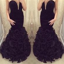 New African Abendkleid Sexy Black Velvet Mermaid Abendkleider Plus Größe 2016 Vestidos De Noite Longos
