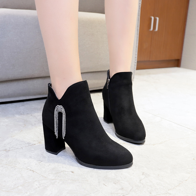 Ladies short boots autumn and winter new round head rhinestone tassel high heel Martin boots fashion retro short boots in Ankle Boots from Shoes
