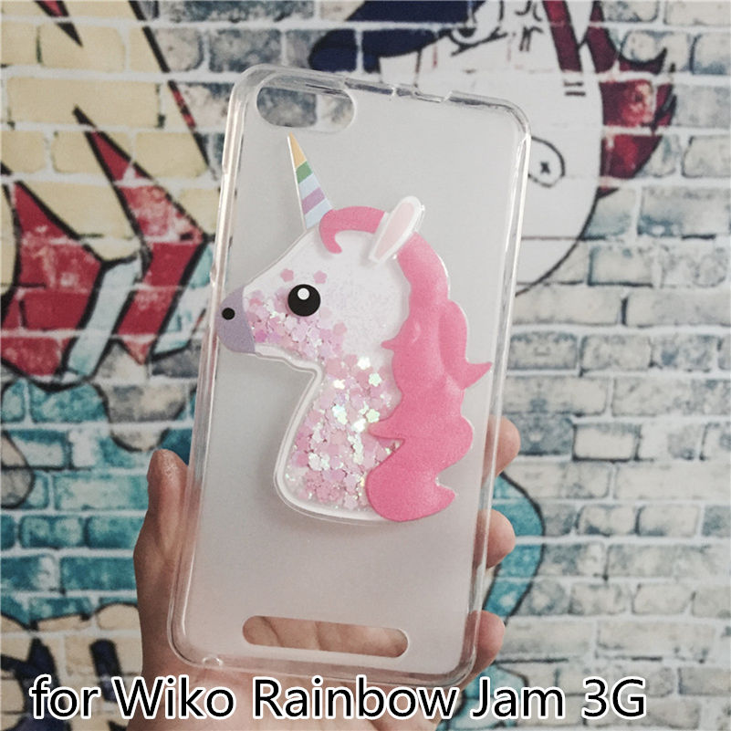 Luxury TPU Girls Case Coque for Wiko Rainbow Jam 3G Unicorn Cover Dynamic Quicksand Phone Cases Glitter Liquid Silicon Shell ...