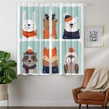 Blackout Curtains 2 Panels Grommet for Bedroom Cartoon Animal Rabbit Elk Bear Baby Raccoon Red Fox Owl