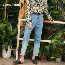 Samstree Women Gradient Jeans Pants 2019 Spring Summer Female Denim Pencil Zipper Casual Young Lady Fashion Bottoms