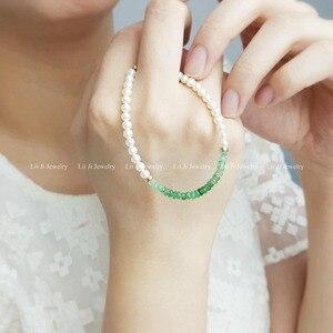 Image 5 - LiiJi Unique Natural Emerald Freshwater Pearl Beads 925 Sterling Silver Gold Color/Goldfilled  Bracelet Nice Gift for Women