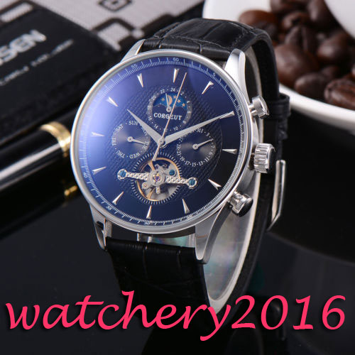 Luxury Corgeut 44mm Moon Phase Black dial Date Day Leather strap Automatic movement Men's Watch