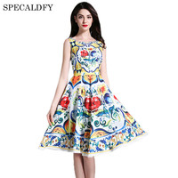 Designer Dresses Runway 2017 High Quality Brand Summer Dress Women Sleeveless Print Knee Length A Line