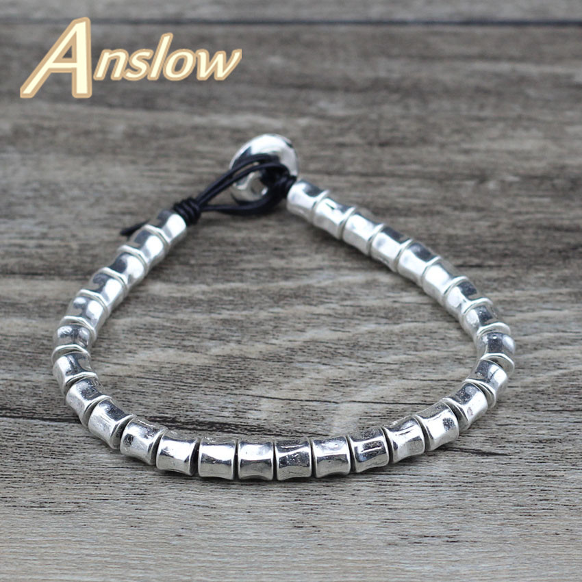Anslow 2018 New Design Top Quality Handmade Brand Leather Bracelet For Women Men Best Friendship Black Friday Gift LOW0619LB