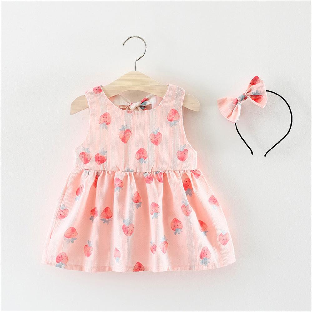 2018 Baby Girls Dress New Summer Sleeveless Strawberry Baby Dress With Baby Headband Bow Princess Dresses Tutu Party