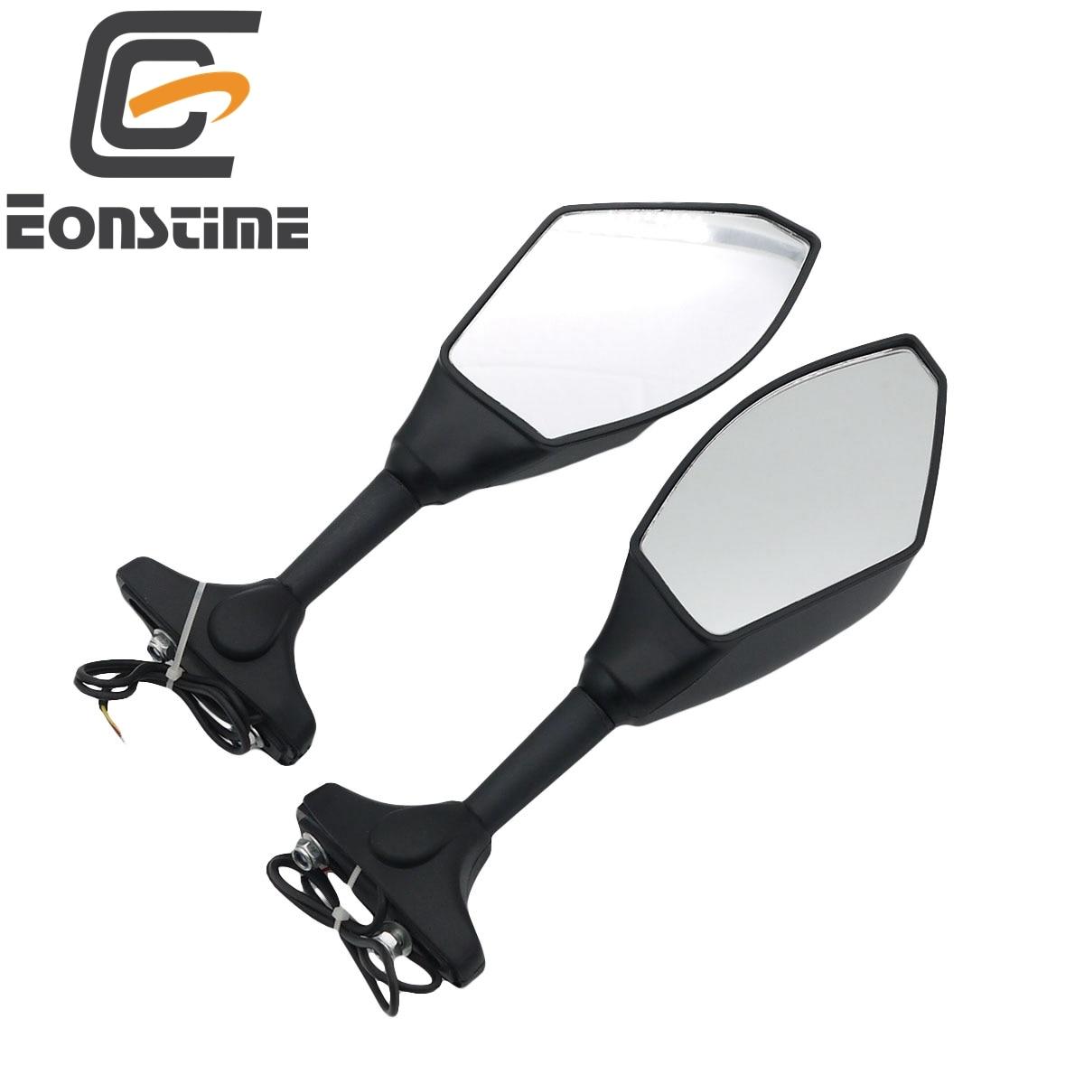 1 Pair Motorcycle Rearview Mirrors Black With LED Turn Signal For Honda Kawasaki