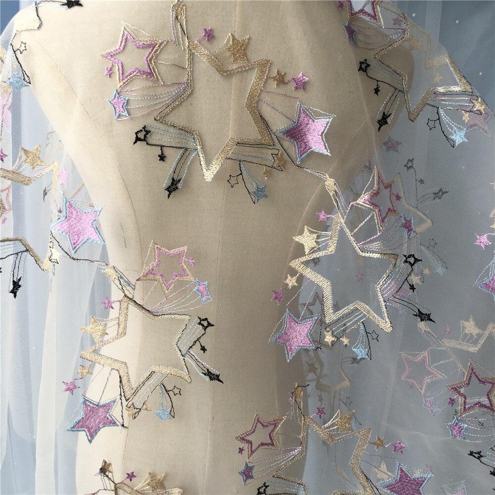 0,9X1,3 meter/lot breite lila elfenbein stern brautkleid stoff ...