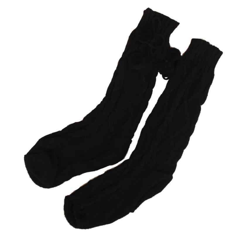 DOUDOULUผู้หญิงถักยาวถุงเท้าB Ootกว่าหัวเข่าขาสูงหุ้นสีขาวสีเทาสีดำสบายๆในช่วงฤดูหนาวฤดูใบไม้ร่วง# ZH