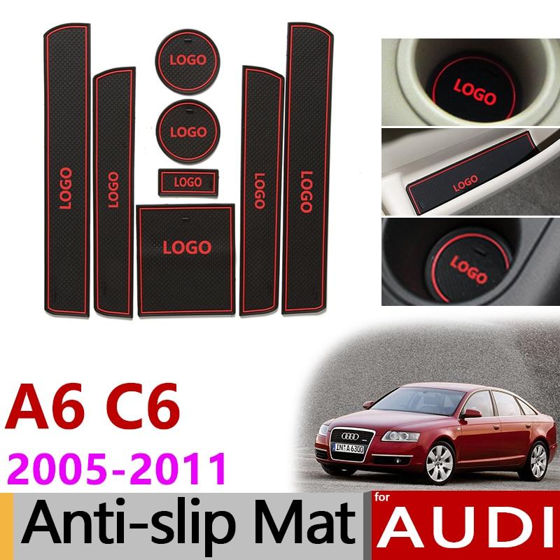 Anti-Slip En Caoutchouc Porte Fente Mat Coupe pour Audi A6 C6 2005-2011 4F RS6 S6 S ligne RS 6 Accessoires 2005 2006 2007 2008 2009 2010 2011