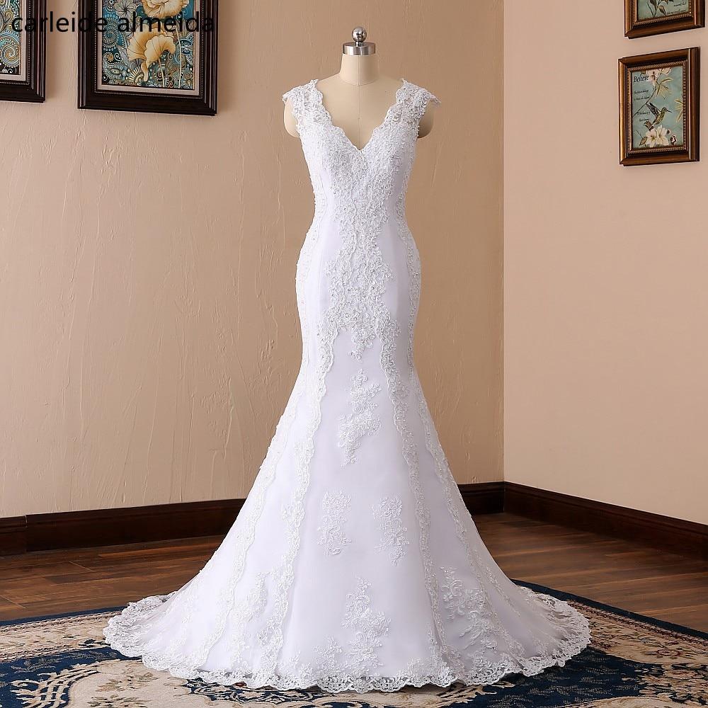 Robe de Mariee V-Neck Sexy Back Mermaid Wedding Dresses Lace Appliques Beads Hochzeitskleid