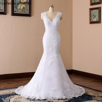 Robe De Mariee V Neck Sexy Back Mermaid Wedding Dresses Lace Appliques Beads Hochzeitskleid