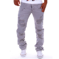 Fashion 2017 new casual men's pants cargo ripped hole casual trousers tooling cargo hip hop street boy Straight pants 6color