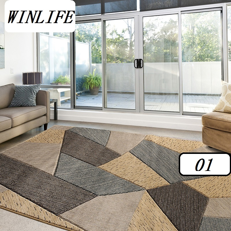 WINLIFE European Geometric Style Carpets Living Room/Parlor/Bedroom Rugs Large Area Rugs Decorating Carpets Washable Rugs