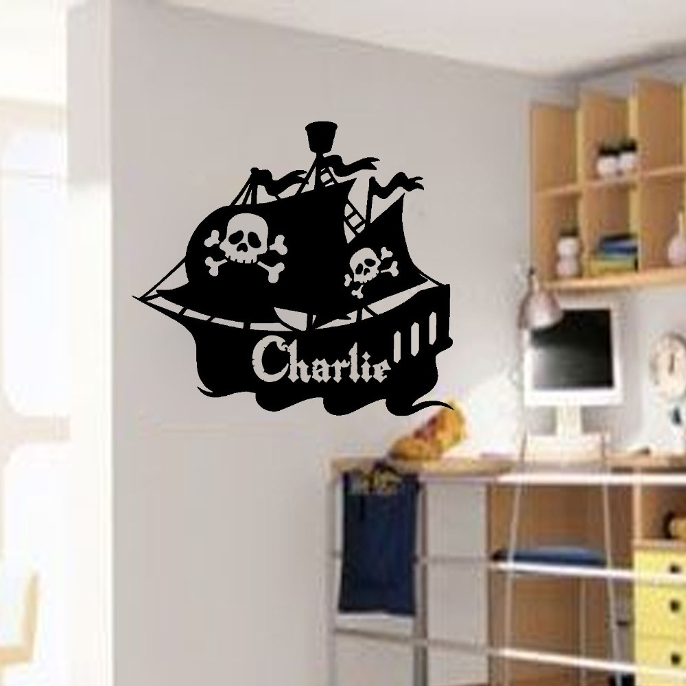Decor Sticker Large PERSONALISED Wall Art PIRATE SHIP STICKERS BOYS Mural  Kids Name Decal Home Room