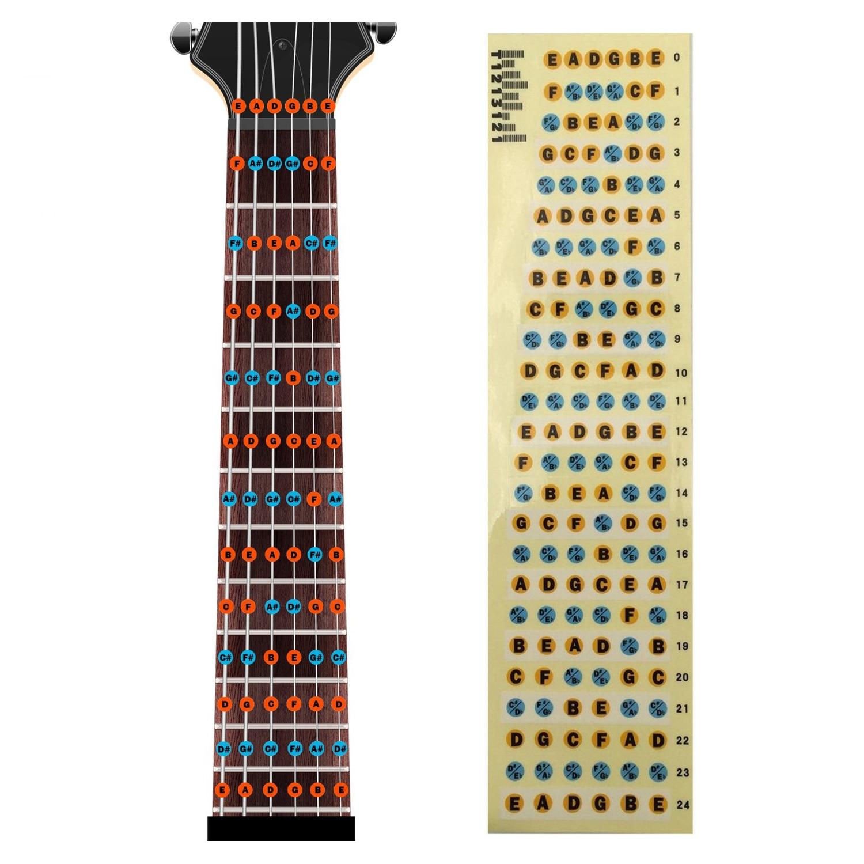 BMDT-Guitar Fretboard Note Decals Fingerboard Frets Map Sticker For Beginner Learner Practice Fit 6 Strings Acoustic Guitar