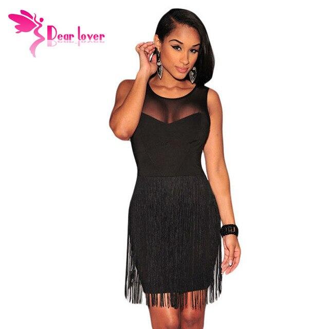 2016 Women Summer Dresses to Party Black Mesh Accent Fringe Mini Tank  Bodycon Dress Vestidos Verao Little Black Dresses LC21986 bb394b87c7d5