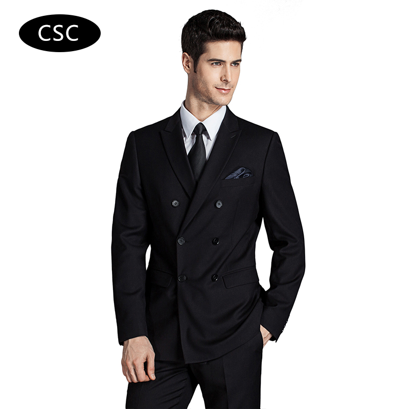 Men Double Breasted Wool Suit Jacket Blazer Slim fit Groom Wedding ...