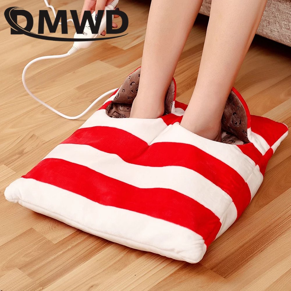 DMWD Portable Foot Warmer heated Shoes feet heating pads Soft Electric Heated Slipper Warm Hands blanket