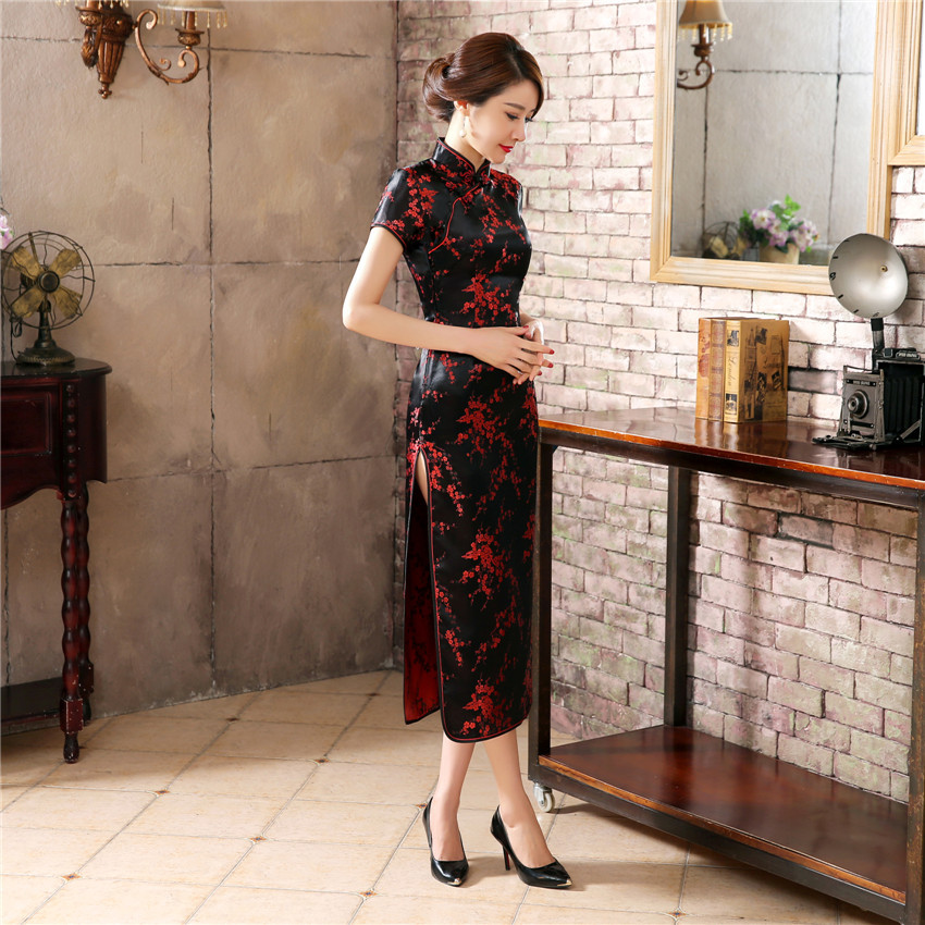 Black Red Chinese Traditional Dress Women's Silk Satin Cheongsam Qipao Summer Short Sleeve Long Dress Flower S M L XL XXLNC039