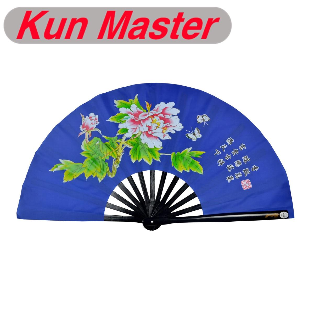 De bambú Kung Fu abanico de luchas de artes marciales práctica rendimiento Fan de Wu Shu Fan Peonía (azul) Trajes tradicionales chinos para hombres, Chaqueta de traje Tang Wu Shu Tai Chi Shaolin Kung Fu Wing Chun, camisa de manga larga, traje de ejercicios