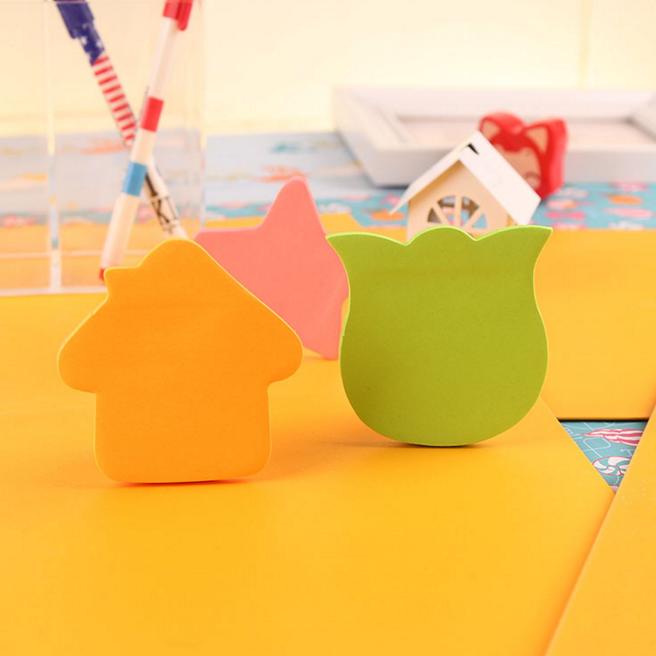 4Pcs/set Cute Fluorescent color sticky notes for marker classification memo pad post Office School supplies