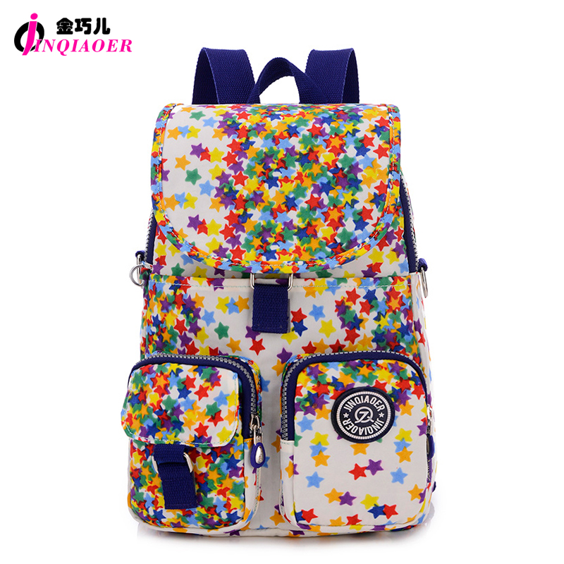 JINQIAOER Mochilas mujer Waterproof Nylon Flap Backpack Stars Printing Women Small Backpack School Bags Fashion Crossbody