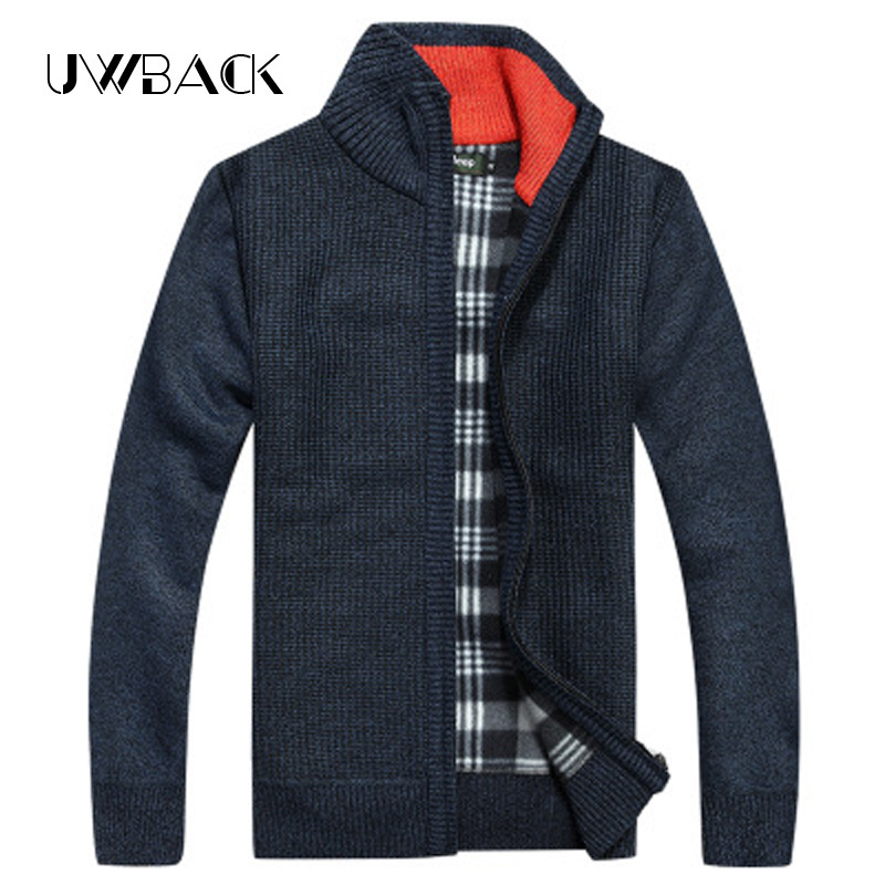 Uwback 2017 New Brand Winter Wool Cardigan Men Thick Zipper Cardigan Homme Plus Size 3XL Casual Solid V-Neck Sweaters Men OA019