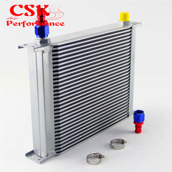 30 Row AN8 Universal Aluminum Engine Transmission 248mm Oil Cooler British Type w/ Fittings Kit  Silver