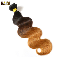 BAISI Brazilian Hair Body Wave Ombre Color 1B#4#27# Machine Double Weft 100% Remy Human Hair Weave free shipping 1/3/4PCS