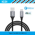 USB C to USB 2.0 Braided Nylon Cable 3M USB 2.0 Type C Cable Compatible with Macbook Chromebook Pixel and More--ICZI