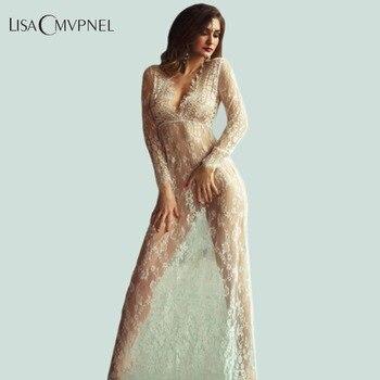 Lisacmvpnel 긴 섹션 깊은 v 여성 잠옷 레이스 중공업 긴 소매 nightdress