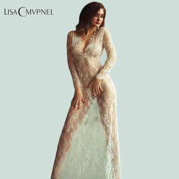 Lisacmvpnel Long Section Deep V Women Nightgown Lace Hollow Long Sleeve Nightdress - DISCOUNT ITEM  30% OFF All Category