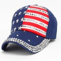 Baseball Cap Fashion Polyester Rhinestone Women Men American Flag Baseball Pokemon Cap Snapback Hip Hop Flat
