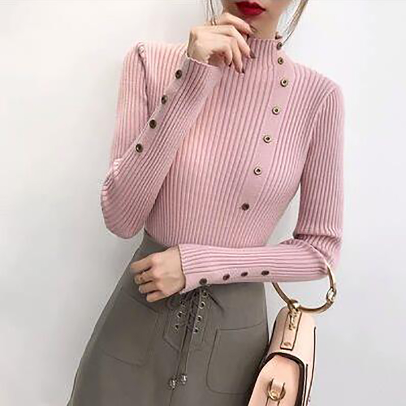 Autumn Winter Turtleneck Knitted Pullovers Sweater Women 2019 Solid Long Sleeve Buttton Sweaters Casual Slim Bodycon Sweater in Pullovers from Women 39 s Clothing